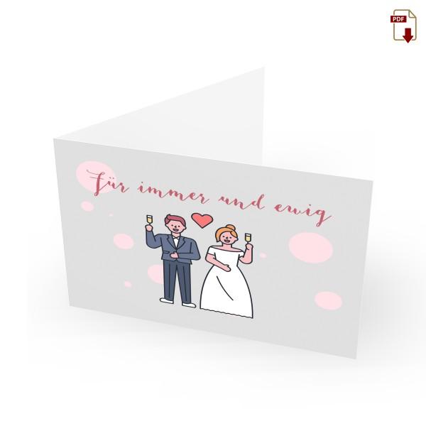Geschenkgutschein Hochzeit zum Drucken